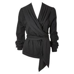 Yves Saint Laurent  Rive Gauche Wool Jersey Wrap Top
