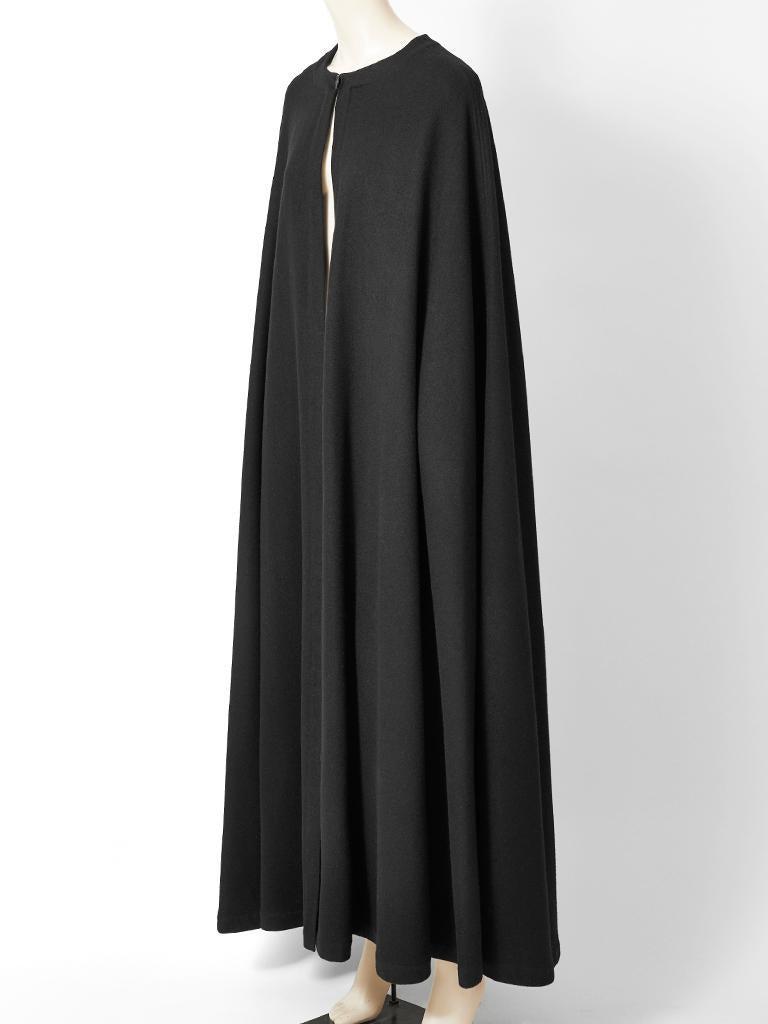 Black Yves Saint Laurent Rive Gauche Wool Maxi Cape For Sale