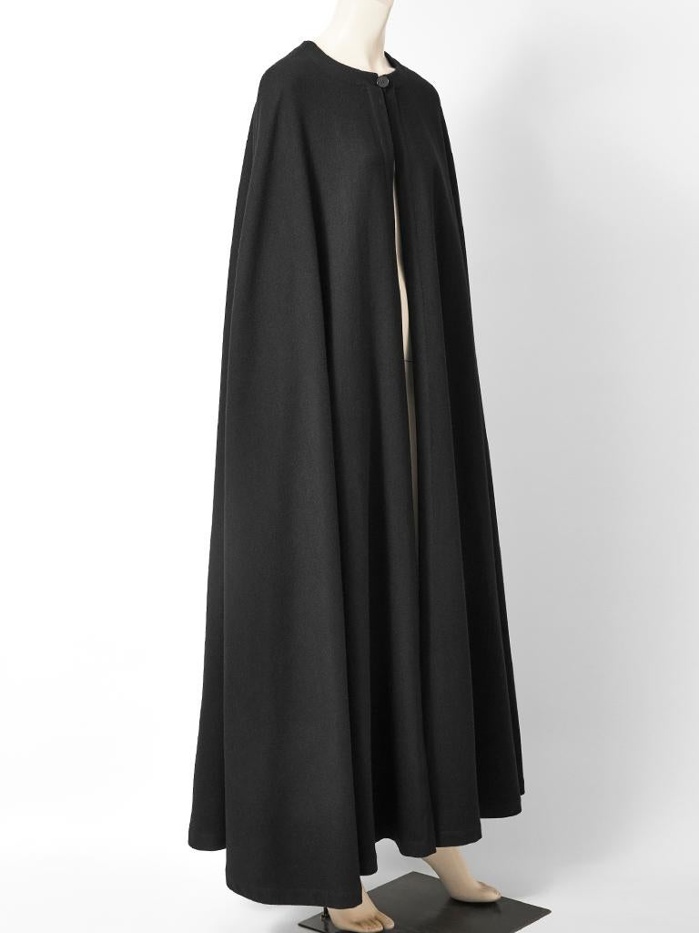 Yves Saint Laurent Rive Gauche Wool Maxi Cape In Good Condition For Sale In New York, NY