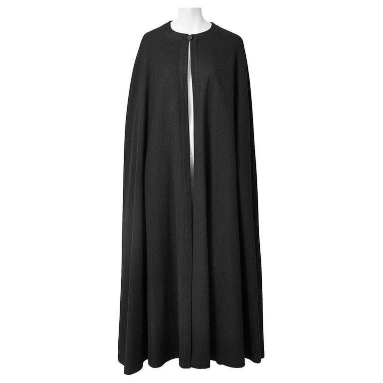 Yves Saint Laurent Rive Gauche Wool Maxi Cape For Sale