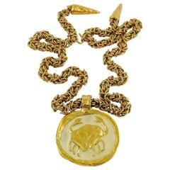 Yves Saint Laurent Rive Gauche YSL Vintage Zodiac Cancer Pendant Necklace