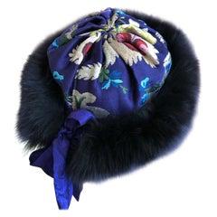 Yves Saint Laurent Rive Guache 1970's Russian Collection Fox Tim Brocade Hat