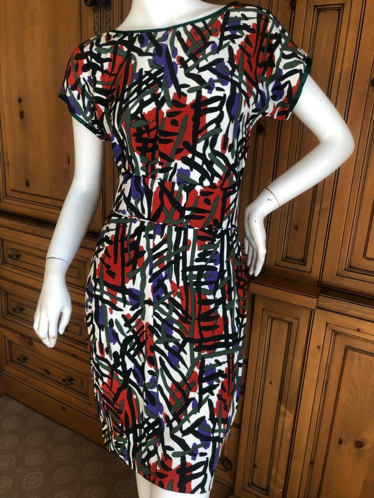 Yves Saint Laurent Rive Guache Vintage 1970's Belted Dress with Low Cut Back No size label , I estimate it Size L (44) Bust 40