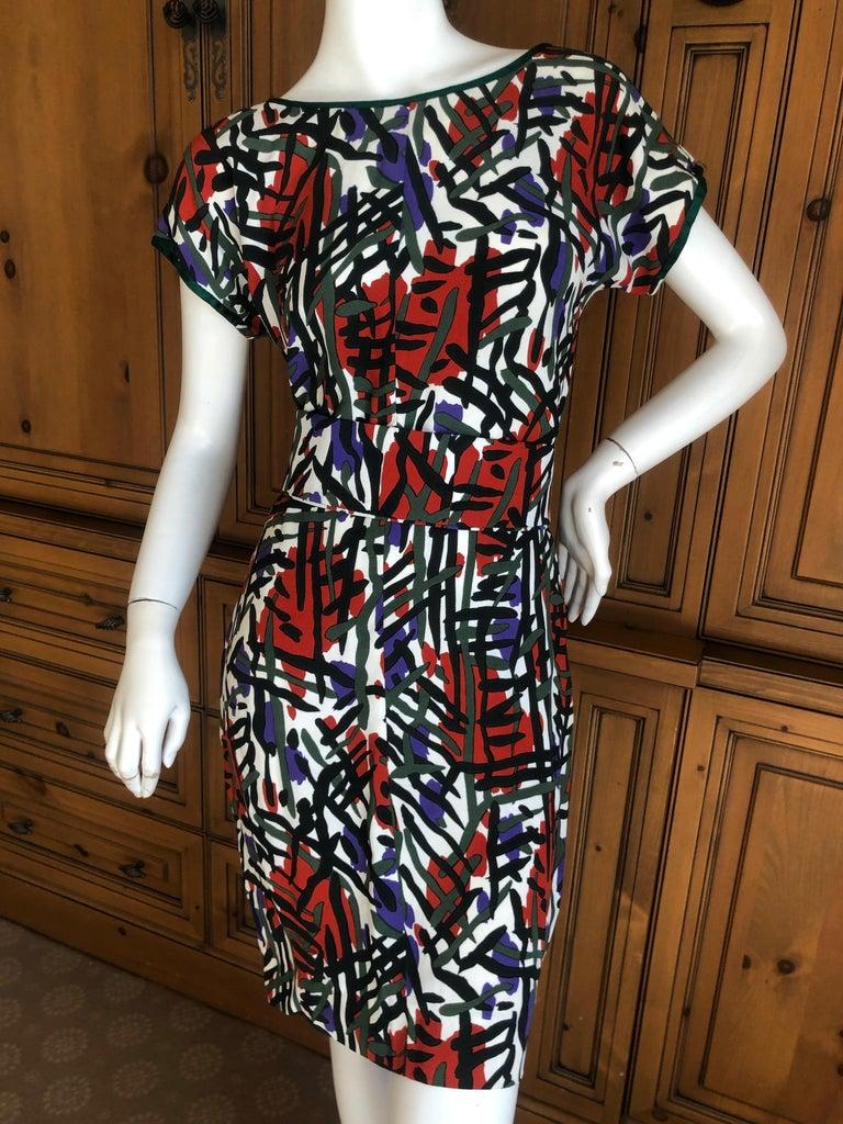 Black Yves Saint Laurent Rive Guache Vintage 1970's Belted Dress with Low Cut Back For Sale