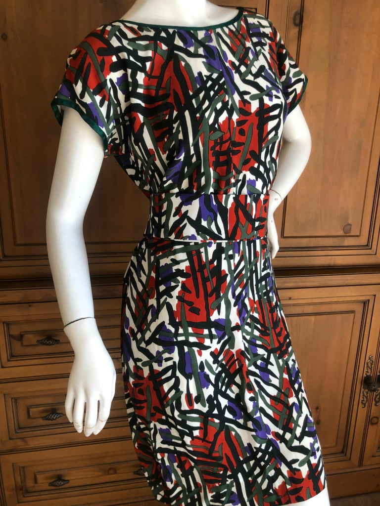Yves Saint Laurent Rive Guache Vintage 1970's Belted Dress with Low Cut Back In Excellent Condition For Sale In San Francisco, CA