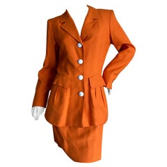 Yves Saint Laurent Rive Guache Vintage 70's Orange Skirt Suit