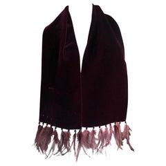 Yves Saint Laurent Rive Guache Vintage Burgundy Velvet Scarf w Feather Accents