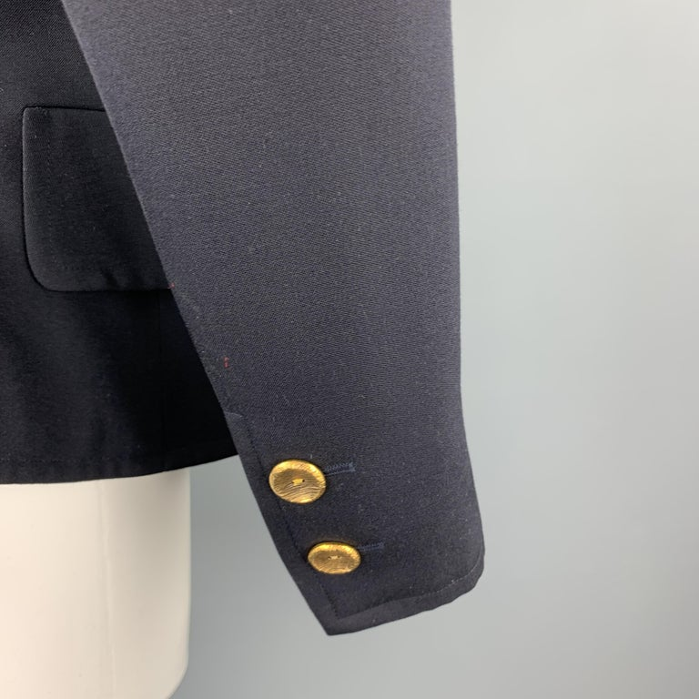 YVES SAINT LAURENT Rivve Gauche Size 6 Navy Wool Collarless Blazer In Excellent Condition For Sale In San Francisco, CA