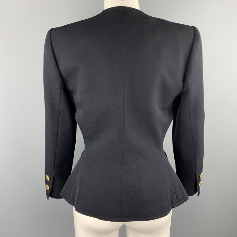 Women's YVES SAINT LAURENT Rivve Gauche Size 6 Navy Wool Collarless Blazer For Sale