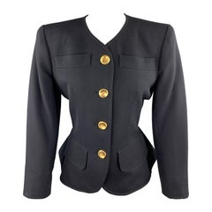 YVES SAINT LAURENT Rivve Gauche Size 6 Navy Wool Collarless Blazer