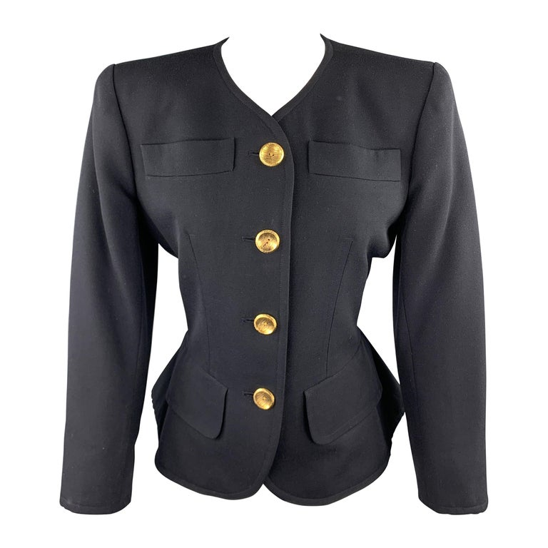 YVES SAINT LAURENT Rivve Gauche Size 6 Navy Wool Collarless Blazer For Sale