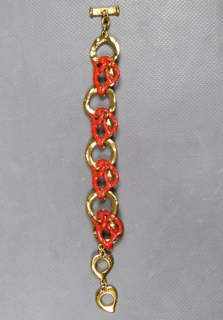 Yves Saint Laurent / Robert Goossens Coral Bracelet Circa 1980 In Excellent Condition For Sale In Toulon, FR