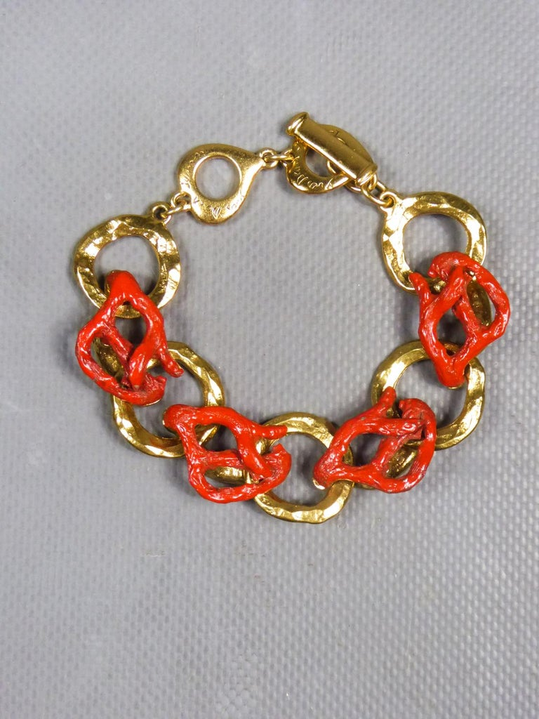 Yves Saint Laurent / Robert Goossens Coral Bracelet Circa 1980 For Sale 2