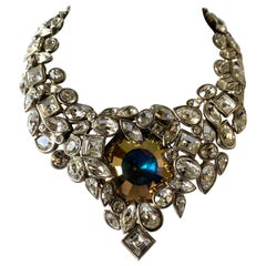 YVES SAINT LAURENT Robert Goossens Diamante Jeweled Runway Necklace