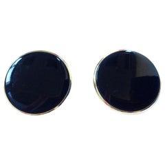 YVES SAINT LAURENT Round Ear Clips In Black Bakelite