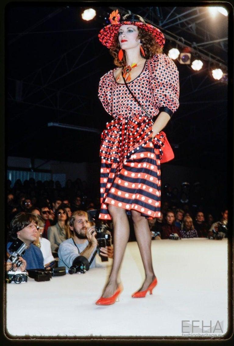 Yves Saint Laurent Runway Harlequin Cotton Ensemble, Spring-Summer 1983 For Sale 6