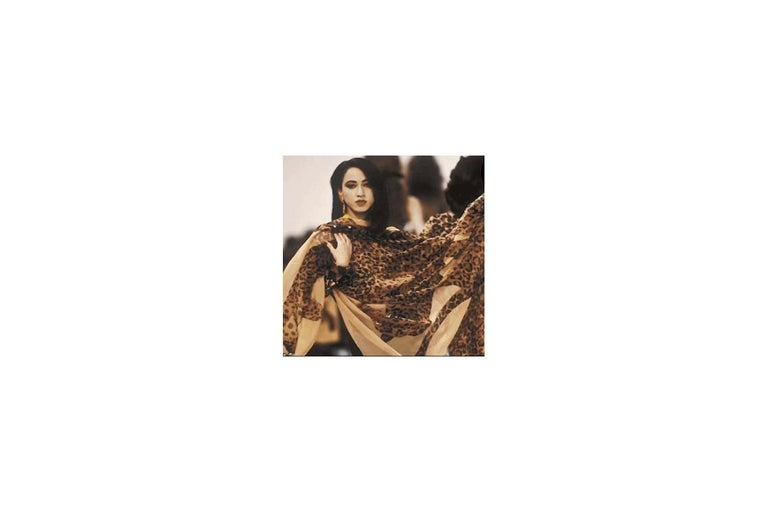 Brown Yves Saint Laurent Runway Leopard Silk Chiffon Shawl Scarf, Fall-Winter 1986  For Sale