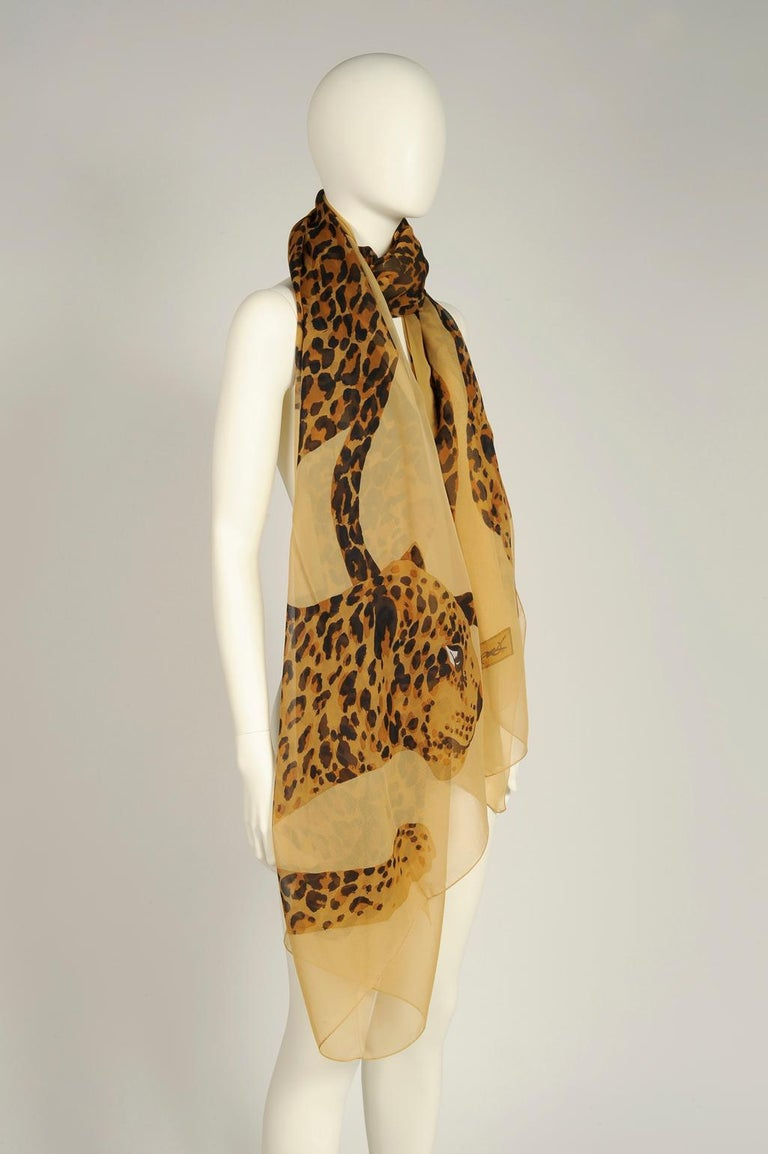 Women's or Men's Yves Saint Laurent Runway Leopard Silk Chiffon Shawl Scarf, Fall-Winter 1986  For Sale