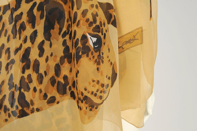 Yves Saint Laurent Runway Leopard Silk Chiffon Shawl Scarf, Fall-Winter 1986  For Sale 1