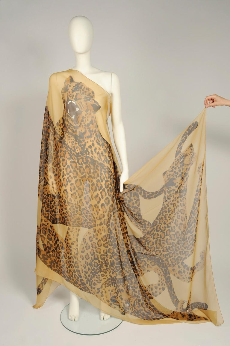 Yves Saint Laurent Runway Leopard Silk Chiffon Shawl Scarf, Fall-Winter 1986  For Sale 2