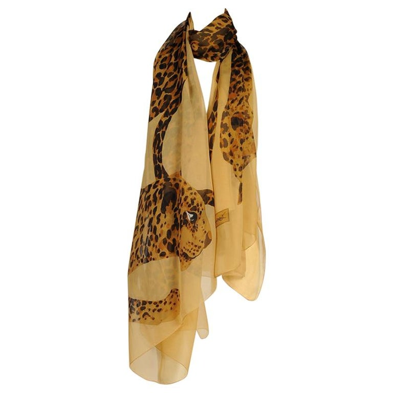 Yves Saint Laurent Runway Leopard Silk Chiffon Shawl Scarf, Fall-Winter 1986  For Sale