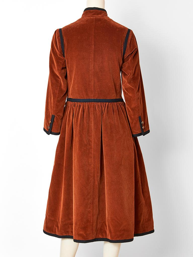 Red Yves Saint Laurent Russian Collection Corduroy Coat For Sale