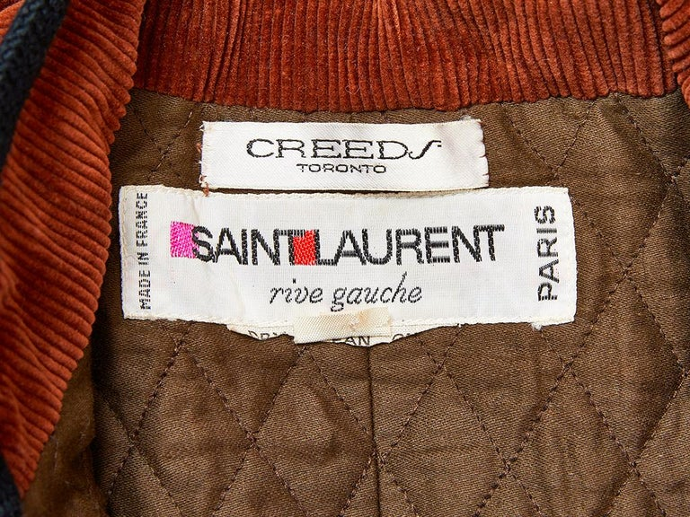 Yves Saint Laurent Russian Collection Corduroy Coat In Good Condition For Sale In New York, NY