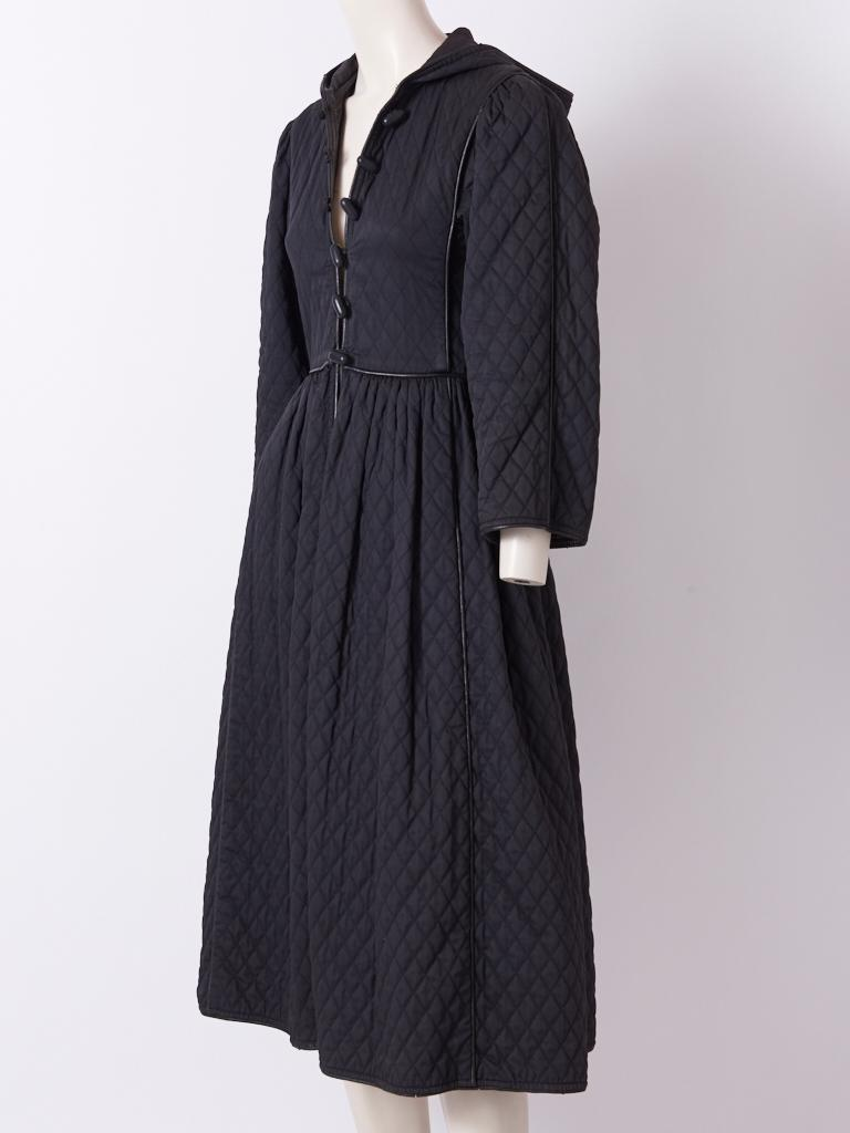 Black Yves Saint Laurent Russian Collection Quilted Coat For Sale