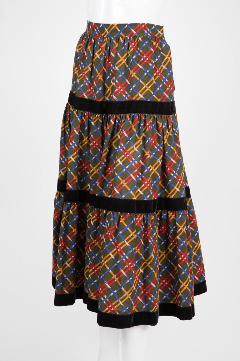 Black Yves Saint Laurent Russian Collection Wool Skirt For Sale