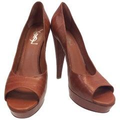 Yves Saint Laurent Rust Orange Leather Peep Toe Pumps