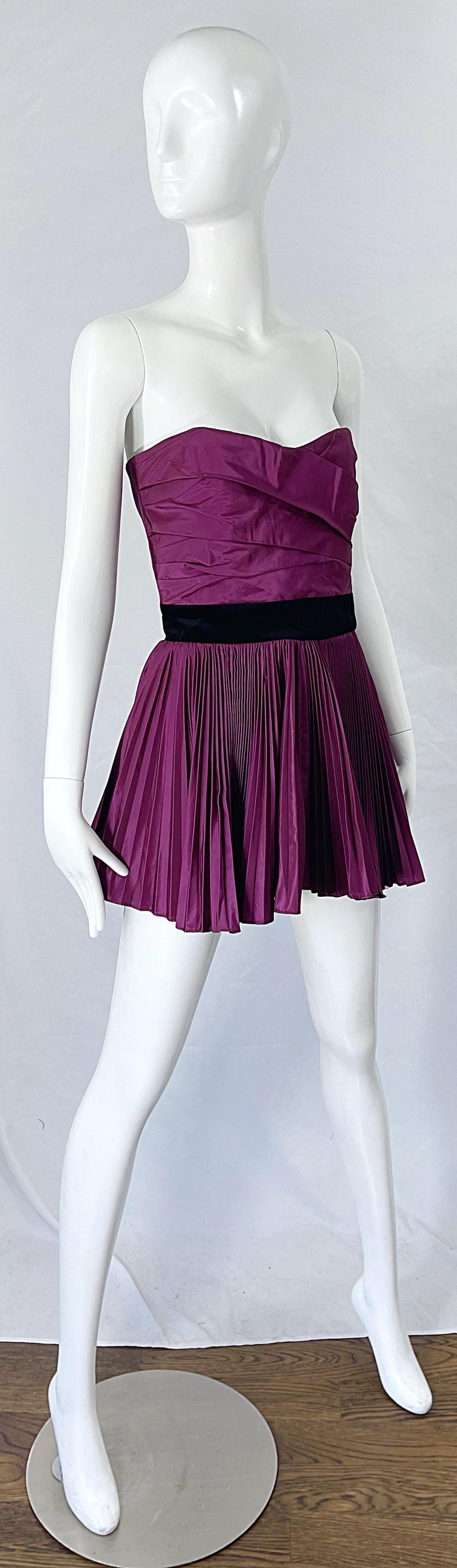 Yves Saint Laurent S/S 2012 Stefano Pilati Purple Silk Taffeta Mini Dress or Top For Sale 6
