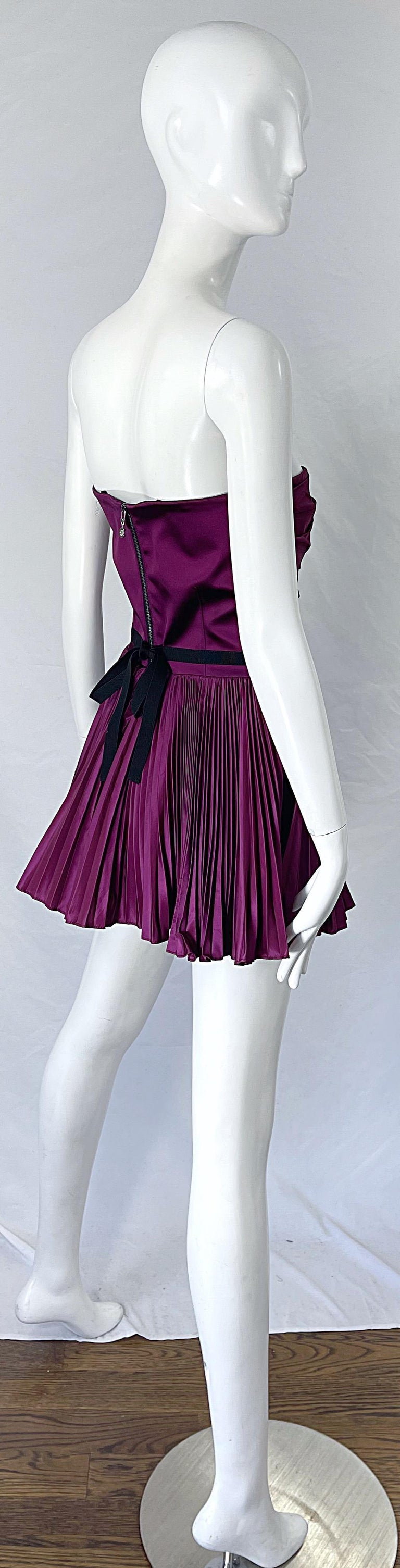 Yves Saint Laurent S/S 2012 Stefano Pilati Purple Silk Taffeta Mini Dress or Top For Sale 7
