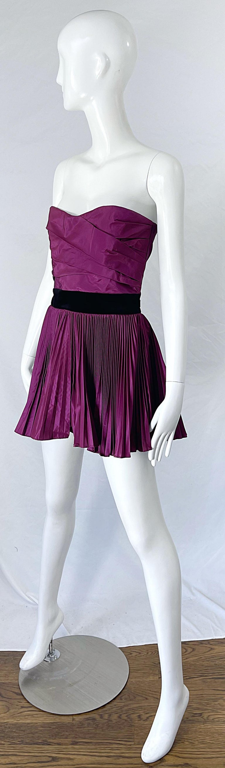 Yves Saint Laurent S/S 2012 Stefano Pilati Purple Silk Taffeta Mini Dress or Top For Sale 8