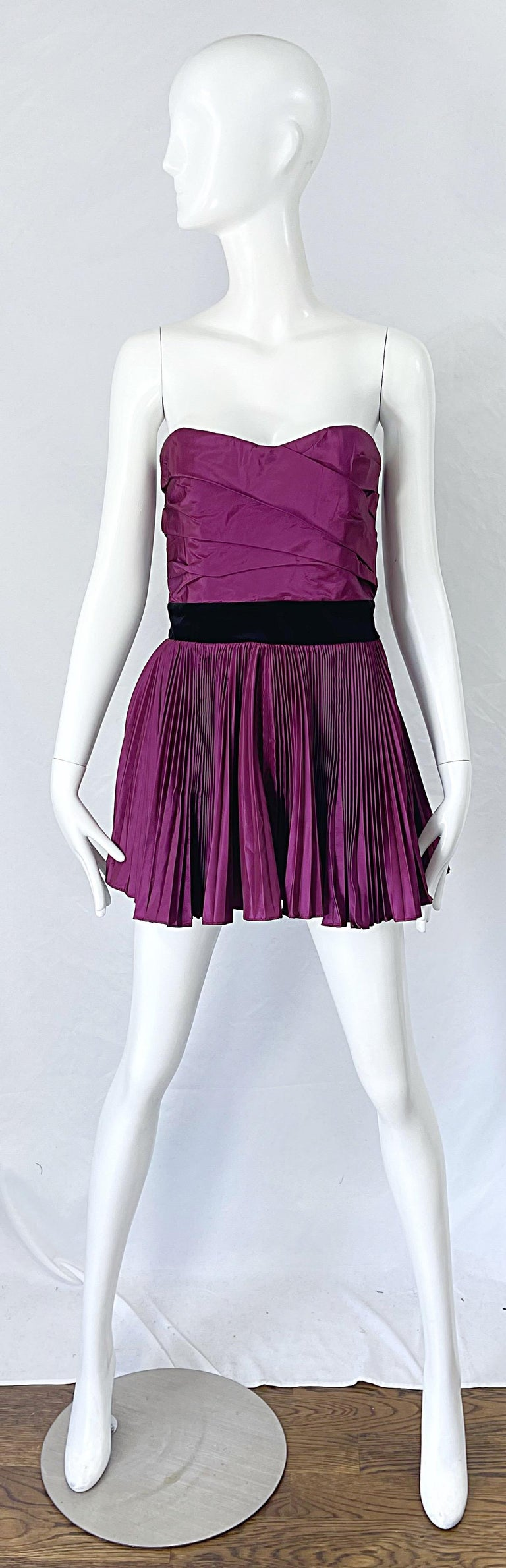Yves Saint Laurent S/S 2012 Stefano Pilati Purple Silk Taffeta Mini Dress or Top For Sale 11