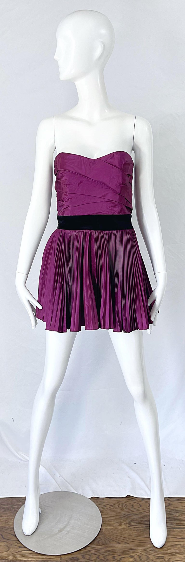 Sexy YVES SAINT LAURENT YSL by Stefano Pilati purple and black silk taffeta micro mini strapless dress or top ! Features a boned tailored bodice with flirty fortuny pleated trapeze skirt. Black velvet waistband with attached tied on the back. Full