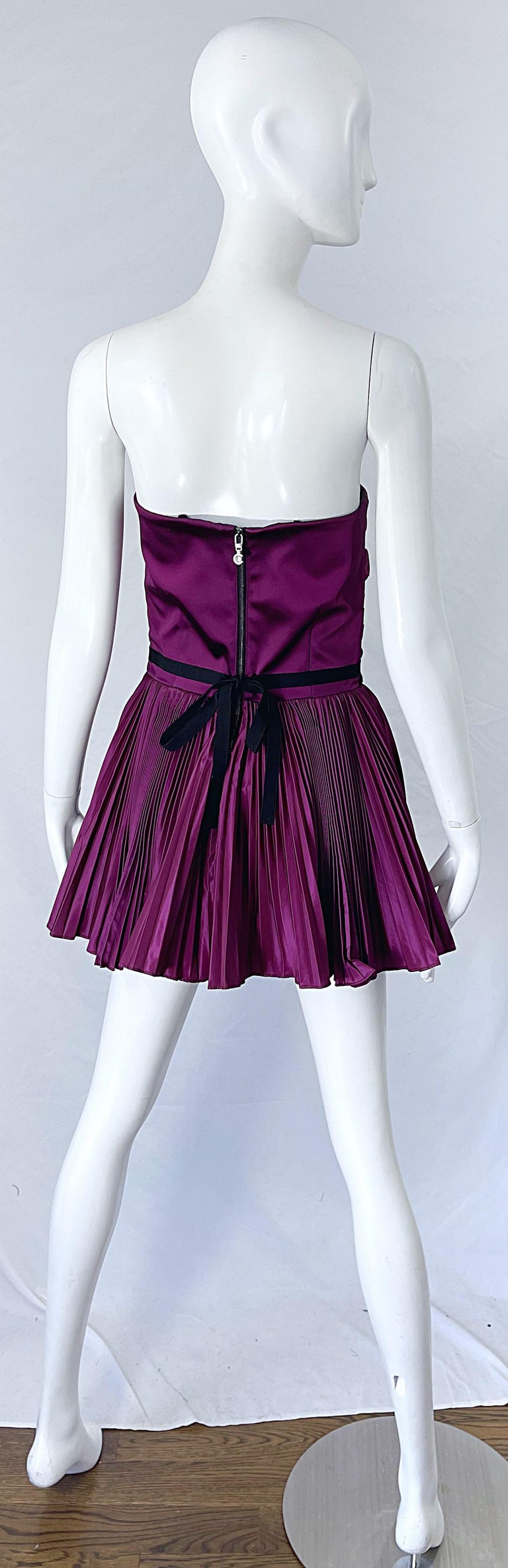 Yves Saint Laurent S/S 2012 Stefano Pilati Purple Silk Taffeta Mini Dress or Top For Sale 1