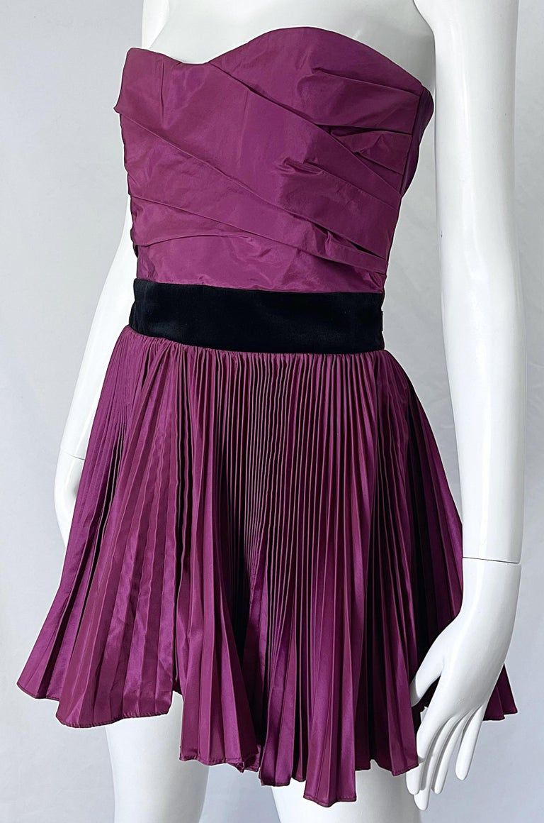 Yves Saint Laurent S/S 2012 Stefano Pilati Purple Silk Taffeta Mini Dress or Top For Sale 2