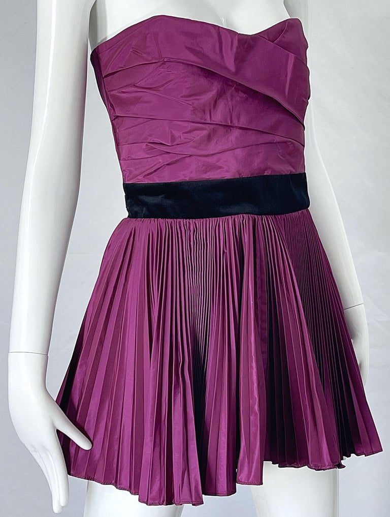 Yves Saint Laurent S/S 2012 Stefano Pilati Purple Silk Taffeta Mini Dress or Top For Sale 3