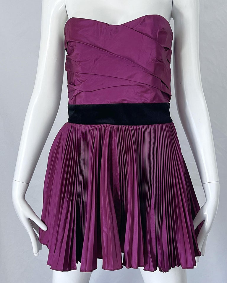 Yves Saint Laurent S/S 2012 Stefano Pilati Purple Silk Taffeta Mini Dress or Top For Sale 4