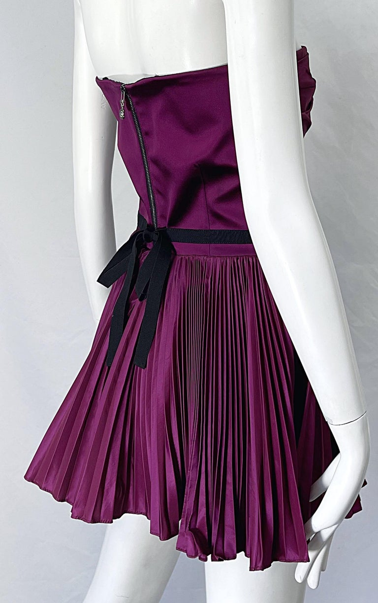 Yves Saint Laurent S/S 2012 Stefano Pilati Purple Silk Taffeta Mini Dress or Top For Sale 5