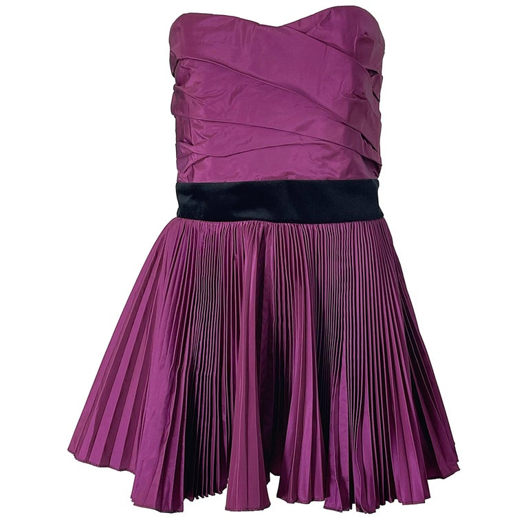 Yves Saint Laurent S/S 2012 Stefano Pilati Purple Silk Taffeta Mini Dress or Top For Sale