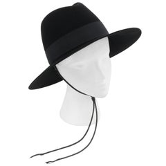 SAINT LAURENT S/S 2019 Black Fur Felt Wide Brim Western Fedora Hat