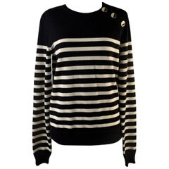Yves Saint Laurent Saint Laurent Black and Ivory Striped Wool Sailor Jumper
