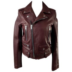 Yves Saint Laurent Saint Laurent Brown Leather Biker Women Jacket Size 36