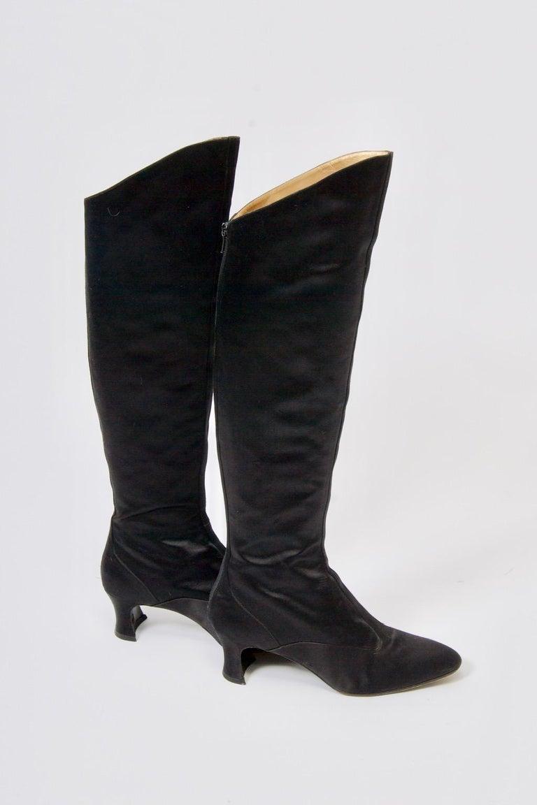 Black Yves Saint Laurent Satin Boots For Sale