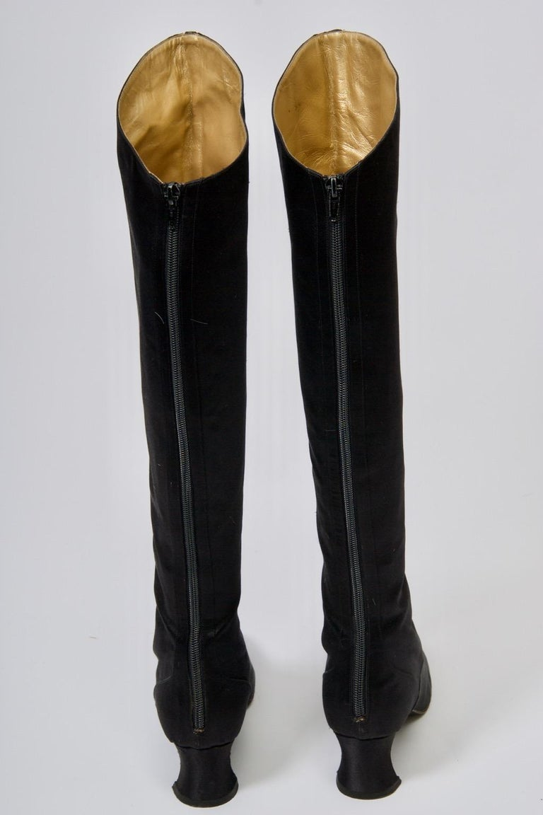 Yves Saint Laurent Satin Boots In Good Condition For Sale In Alford, MA