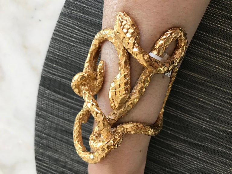 Dramatic and rare vintage YSL Gold plated large cuff bracelet. **YSL Necklace sold separately and available for purchase at our 1stdibs store
