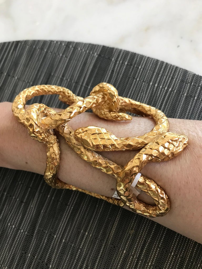 Egyptian Revival Yves Saint Laurent Serpentine Gold Plated Large Cuff For Sale