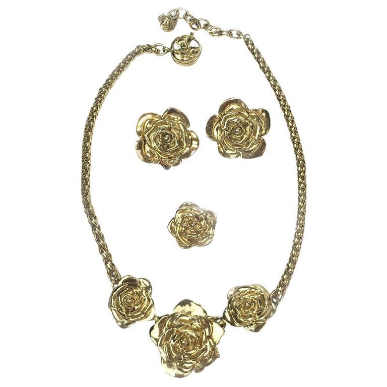 Yves Saint Laurent Set : Necklace, Brooch And Clip-on Earrings For Sale