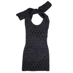 YVES SAINT LAURENT Short Sleeveless Summer Dress in Black Damask Silk Size 36FR